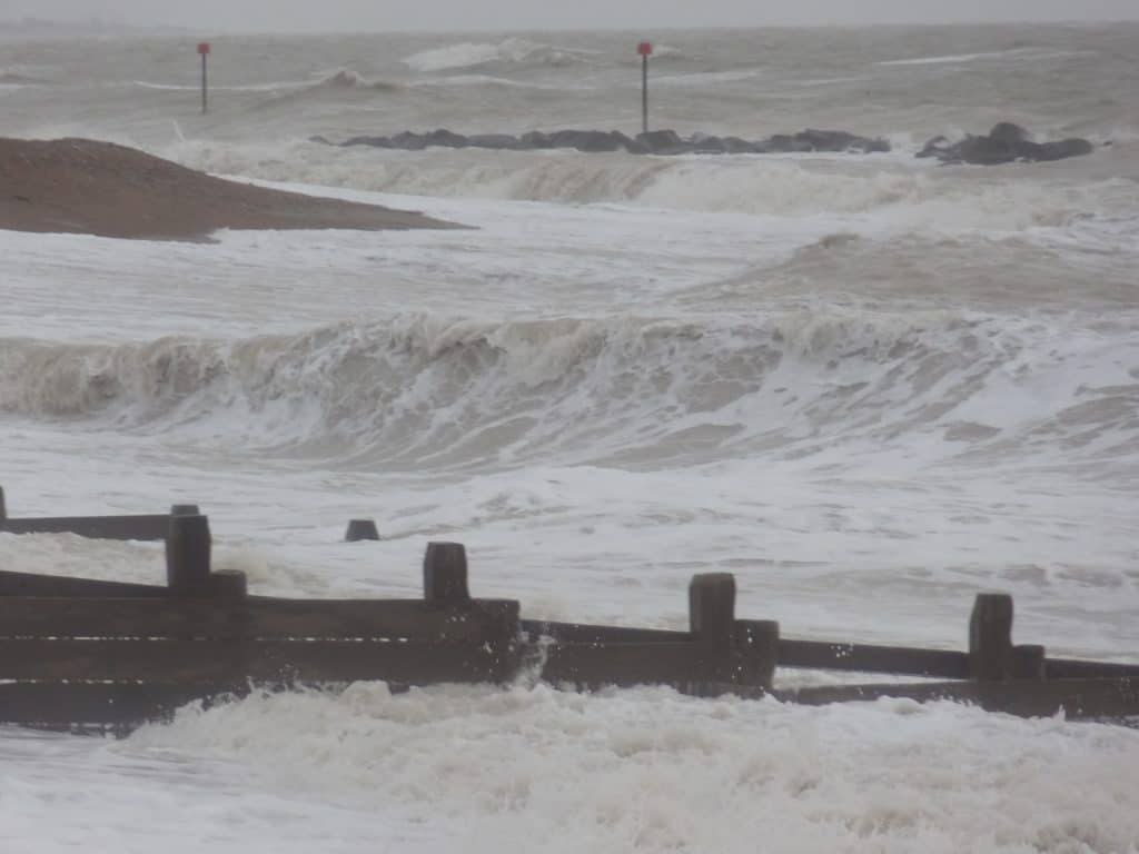 Groynes with heavy sea and waves