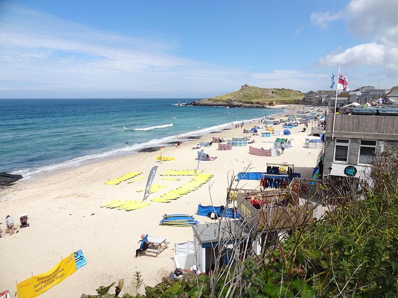 Porthmeor beach being set-up before the crowds arrive
