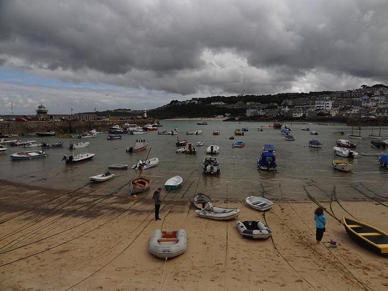 Looking to St Ives Harbour at low tide