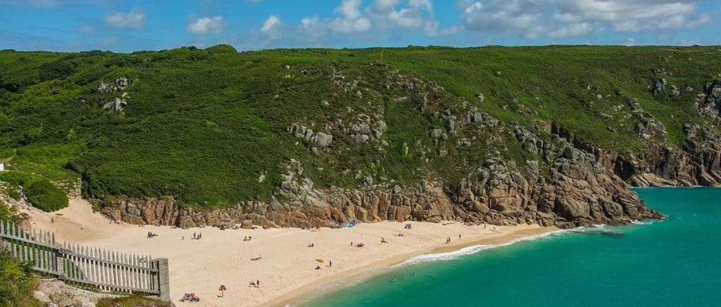 Porthcurno beach taken from Minack theatre, Cornwall