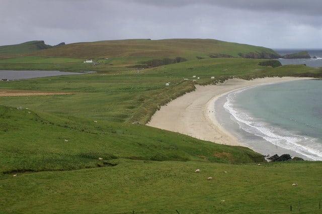 Scousburgh Sands beach, Scousburgh, Shetland Islands