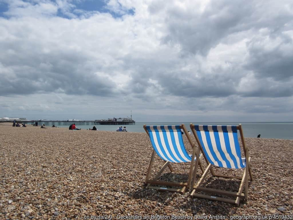deckchairs on Brighton beach, East Sussex